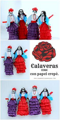 Calaveras decoradas con papel crepé para el día de muertos.