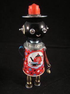 Mrs. Pots Bot found object robot sculpture assemblage by ckudja