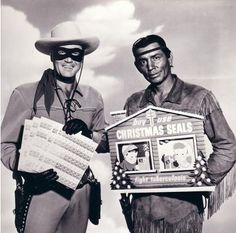 The Lone Ranger and Tonto urge you to buy and use Christmas Seals to fight tuberculosis.