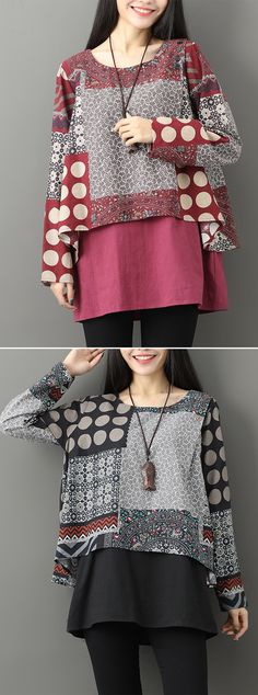 [Newchic Online Shopping] Women's Casual Two-Layer Printed Blouses with … Cute Dresses, Casual Dresses, Women's Casual, Discount Womens Clothing, Batik Dress, African Wear, Printed Blouse, Clothing Patterns, Blouses For Women