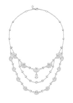 Necklace in white gold set with 166 brilliant-cut diamonds and 1 pear-shaped diamond