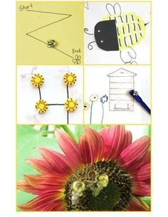 Lesson plans for 5 FUN Activities to do with Bees! Great for kids in the garden! Potato Stamping Bee, Magnetic Wand Bee Hive, Fine Motor Maze, DIY Bee Counters, and Simple Addition Problems with Bees