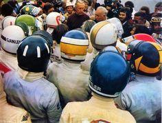 Briefing pre gara GP Italia, Monza (Sport Auto) Vintage Helmet, Vintage Racing, Vintage Auto, Vintage Cars, Racing Helmets, F1 Racing, Classic Motors, Classic Cars, Formula 1