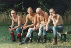 Four skinheads sit on a bench in a Wilmslow Park by Shirley Baker Skinhead Men, Skinhead Boots, Shirley Baker, Skin Head, Street Portrait, Salford, Portraits, Punk, Working Class