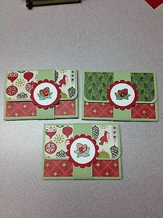 HANDMADE POP-UP GIFT CARD HOLDER CHRISTMAS WITH PINECONES WITH SOME STAMPIN UP
