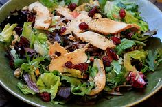 Roasted Chicken Salad w/ Cranberries: 1/2 roasted chicken breast, sliced  1/4 cup toasted pecans, chopped  1/4 cup dried cranberries  1/4 cup feta cheese crumbles  a few slices of red onion  2 ounces salad greens {I used Mesclun}  2 tablespoons Basic Balsamic Vinaigrette