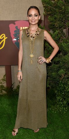 Nicole Richie rocked a ribbed maxi dress with statement-making Chanel  necklaces and metallic heels 6210d199a