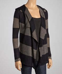 Blue Stripe Wool-Blend Hooded Open Cardigan