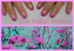purple/pink, french tip design, natural nails, gel polish, freehand