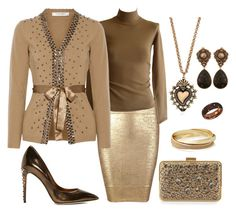"""""""Caramel"""" by donnalynnginn ❤ liked on Polyvore featuring Posh Girl, Dries Van Noten, Valentino, Dolce&Gabbana, The Limited, Franchi, Stephen Dweck, Damiani and Mercantia"""