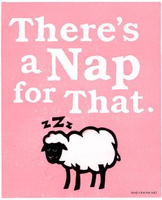 """Sleepy Sheep 8x10"""" Lino Block Print - There's a NAP for That - Pink. $12.00, via Etsy."""
