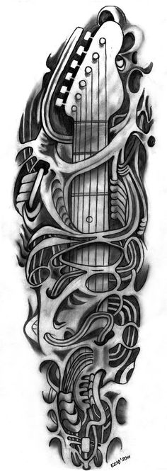 Skull Guitar Tattoo Outlines !