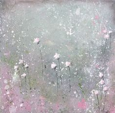 Inspired by Laurence Amelie - Abstract Floral Painting - Shabby Chic Roses - Blush Pink and Gray by melissamaryjenkins on Etsy