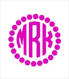 Circle Car Monogram Sticker With Polka Dot by MyMonogramHeaven, $6.50