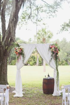 Rustic wedding ceremony inspiration: http://www.stylemepretty.com/2014/10/08/colorful-up-the-creek-farms-wedding/ | Photography: Vitalic - http://vitalicphoto.com/
