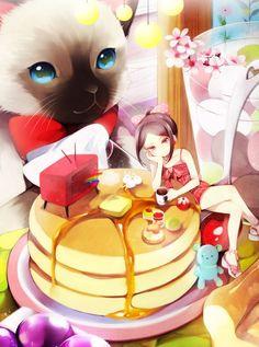 ✮ ANIME ART ✮ food. . .pancakes. . .breakfast. . .miniature girl. . .syrup. . .butter. . .tv. . .cat. . .colorful. . .surreal. . .cute. . .kawaii