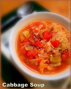 easy cabbage soup ~ my grandma's old family recipe ~ with beef, beans & tomatoes ~ low fat & REALLY good!