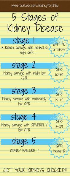 Stage 1 Stage 2 Stage 3 Stage 4 Stage 5 Www Facebook Com Akidneyforphillip 5 Stages Of Kid Kidney Disease Stages Nursing School Survival Chronic Kidney Disease