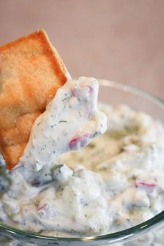 Greek Yogurt Dip:  1 cup plain non-fat Greek style yogurt  1 avocado, finely chopped  1/2 cup chopped tomatoes  1/2 cup cucumber, finely chopped  1 tsp dried dill  1/2 tsp garlic powder  salt to taste    Preparation  Mix everything together in a small bowl. Chill and serve with crackers or veggies.