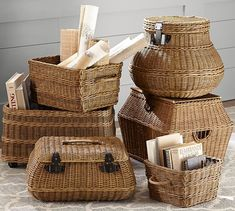 Jacquelyne Curved Lidded Basket | Pottery Barn