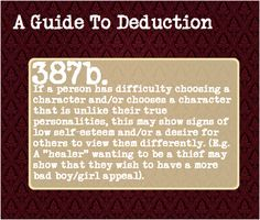A Guide To Deduction, Fictional Scenario Suggestions Creating a...