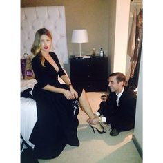 Doutzen Kroes getting ready for the Vanity Fair Oscars Party via Facebook.