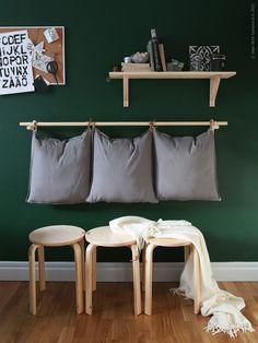 Ikeahack DIY Hanging Pillows and Frosta Bench Ikea Bar, Ikea Inspiration, Colour Inspiration, Ikea Bedroom, Home Decor Bedroom, Frosta Ikea, Ikea Hallway, Ikea 2015, Ikea Stool