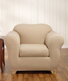 $45 Another great find on #zulily! Cream Stretch Honeycomb Separate Seat Chair Slipcover #zulilyfinds