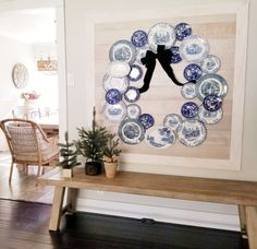 I incorporated my blue and white transferware collection into my holiday decor and I created this beautiful plate wreath! I started with my collection of blue… Diy Plate Rack, Window Seat Cushions, Terracotta Flower Pots, White Plates, Blue Plates, Shabby, Fall Decor, Holiday Decor, Plates On Wall