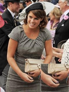 Princess Eugenie of York at the Epsom Derby on the first day of the Queen's Diamond Jubilee celebrations. It's a little old for her, but it's appropriate, it's flattering, and she jazzed it up with some patriotic nail art.