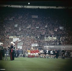 The teams arrive on the pitch at Wembley Stadium, for the 1966 World Cup Final match between England and West Germany, which England won after extra time, July Retro Football, World Football, Vintage Football, England National Football Team, England Football, English Football Stadiums, Jules Rimet Trophy, 1966 World Cup Final, England Shirt