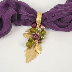 Multi Leaf with Bead Drop Scarf Jewelry - $10.90