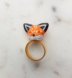 Items similar to fox ring - fox jewelry - fox accessories - fox sculptures - animal rings - animal sculptures - unique rings - fox jewellery - unique gifts on Etsy Fox Ring, Ring Bear, Fox Jewelry, Unique Jewelry, Elephant Ring, Animal Rings, Sculptures, Gemstone Rings, Gemstones