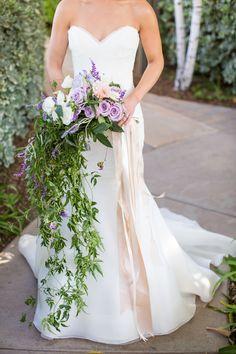Purple Cascading Bridal Bouquet | Birds of a Feather | TheKnot.com