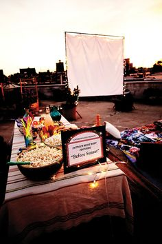Great idea for a backyard movie night!