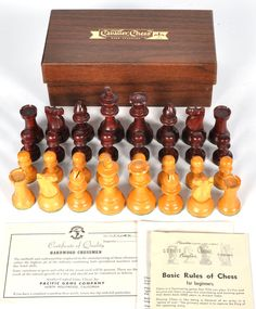 "Vintage Cavalier Wood Hardwood Complete Staunton Chess Set w/ Box COA 3.25"" King #Cavalier #PacificGameCompanyPleasantimeGames"