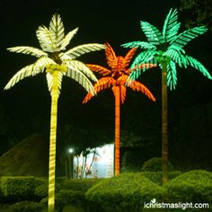 Lit palm tree outdoor decor made in China