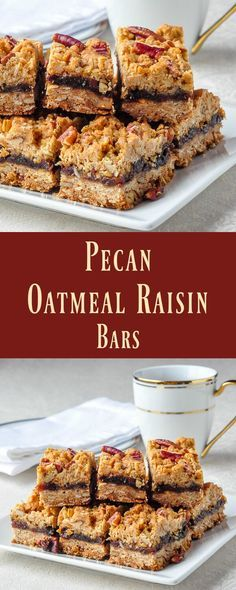 Pecan Oatmeal Raisin Bars - a close cousin to Date Crumbles, this new cookie bar…