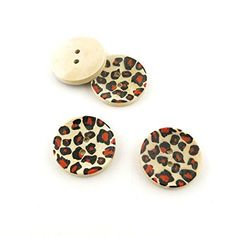 1000x Arts Crafts Flatback Colorful Lovely Clothing Accessory Decoration Multi Pattern Cartoon Plush DIY Accessories Sewing Wood Buttons Supplies NK1523 Leopard Depression * Read more reviews of the item by visiting the link on the image.