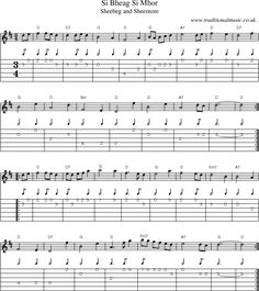 Music Score and Guitar Tabs for Si Bheag Si Mhor