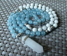 Mini Mala Necklace Mala Beads Crystal Pendant Quartz Blue