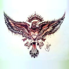Eagle with Heart on Chest Tattoo Design Music Tattoos, Arrow Tattoos, Feather Tattoos, Body Art Tattoos, Sleeve Tattoos, Tatoos, Eagle Chest Tattoo, Eagle Tattoos, Eagle Neck Tattoo