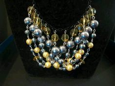 Gray and yellow beaded necklace