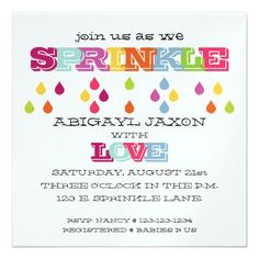 Customizable Invitation made by Zazzle Invitations. Personalize it with photos & text or shop existing designs! Sprinkle Shower, Sprinkle Party, Baby Sprinkle Invitations, Baby Shower Invitations, Diaper Parties, Specialty Paper, Create Your Own Invitations, Rainbow Baby, Baby Shower Games
