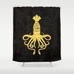 """House Greyjoy - Game of Thrones"" Shower Curtain by Savousepate - $68.00 #showercurtain #shower #curtain #bathroom #GOT #greyjoy #gameofthrones #wedonotsow #octopus #cuttlefish #kraken"