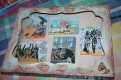 Artist Trading Cards with similar beach theme framed in a Martha Stewart shadowbox that I painted and rubber stamped.