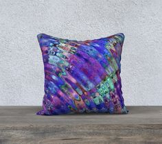 The Ripple Effect III, Blueberry - Pillow Cover, Square, 18x18