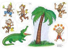 Fem små apor satt i ett träd och reta krokodilen, du kan inte ta mig... Det är en av barnens favoritramsor som nu finns som flano, lek, räkna och lär!