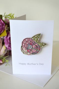 Mother's Day card with a fabric flower brooch handmade by Stitch Galore. A Mother's Day card as well as a little gift. www.stitchgalore.com Embroidery Cards, Free Motion Embroidery, Free Machine Embroidery, Machine Applique, Fabric Flower Brooch, Fabric Flowers, Sewing Cards, Fabric Cards, Jewelry Candles
