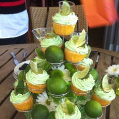 Margarita cupcakes with tequila shots - now that's my kind of dessert! Stock the bar